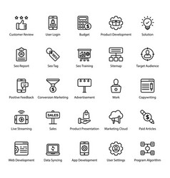 Digital marketing line icons pack vector