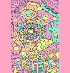 doodle mandala pattern - psychedelic cartoon art vector image