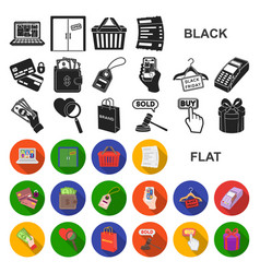 E-commerce purchase and sale flat icons in set vector