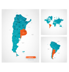 Editable template map argentina with marks vector