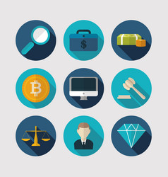 finance business icons flat design vector image