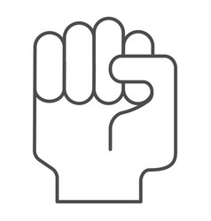 fist up thin line icon raised fist vector image