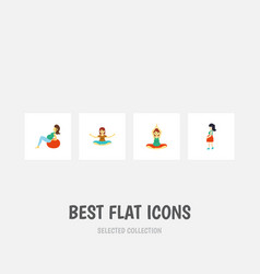 flat icon pregnancy set of mother lady vector image