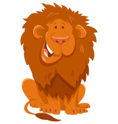 funny lion cartoon wild animal character vector image