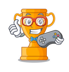 Gamer champion golden trophy on cartoon table vector