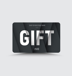 gift card is black with white text at different vector image