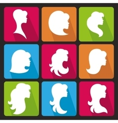 Girl face silhouetteProfiles Hair styleIcons set vector image
