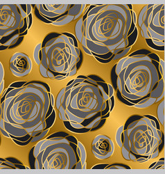 gold rose decorative flowers seamless pattern vector image