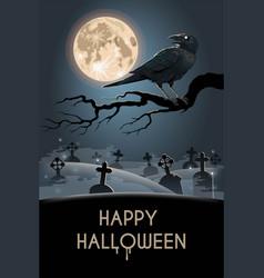 Halloween card with raven on graveyard vector