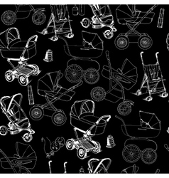 Hand drawn seamless pattern of baby prams vector