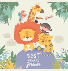 Happy jungle animals best friends vector