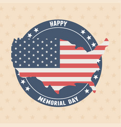 happy memorial day map with flag badge stars vector image