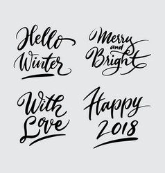 Hello winter and happy new year handwriting callig vector