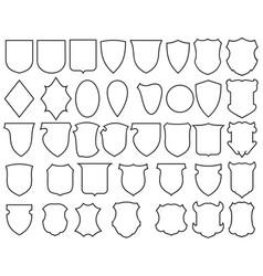 Heraldic shields thin line icons set vector