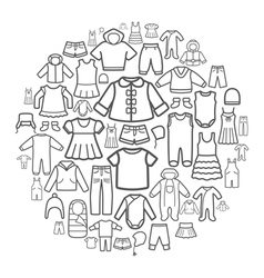 Line icons of children clothing vector image