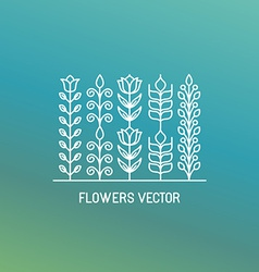 Line logo and emblem with flowers vector