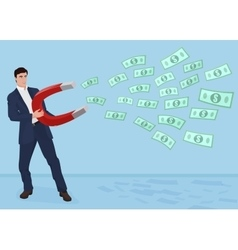 Male businessman getting money with a large magnet vector