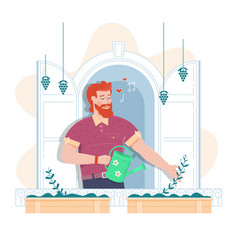 man is watering the flowers flat vector image