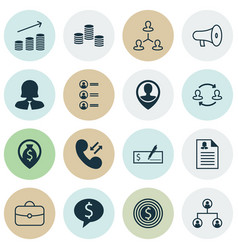 Management icons set collection of bullhorn call vector