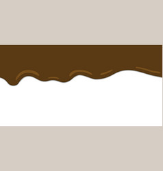 Melted chocolate drips seamless border vector