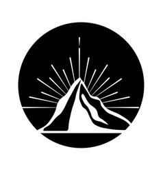 Mountain peak emblem icon vector