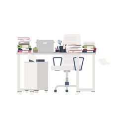 Office chair and desk completely covered with vector