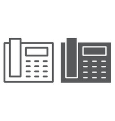 office phone line and glyph icon office vector image