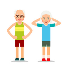 Old people doing exercises elderly couple and vector