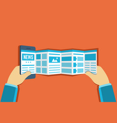 online reading news or web surfing using vector image