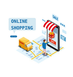 online shopping express delivery service courier vector image