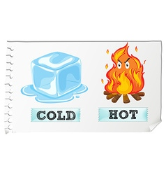 Opposite adjectives with cold and hot vector