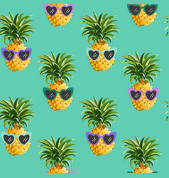 pineapple funny glasses seamless pattern fashion vector image