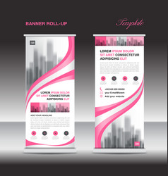 pink roll up banner template stand display vector image