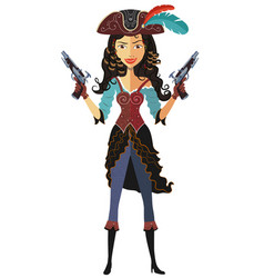 Pirate girl with powder gun isolated on a vector