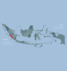 Province bengkulu and country map indonesia vector
