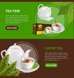 realistic detailed 3d black tea banner horizontal vector image
