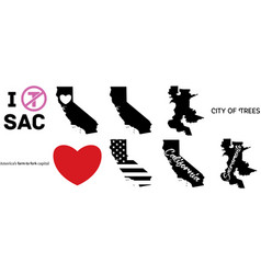 Sacramento california us map vector