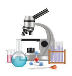 science laboratory 3d biology physics items for vector image