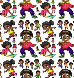 Seamless background with African American kids vector image
