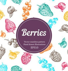 seamless berries background vector image