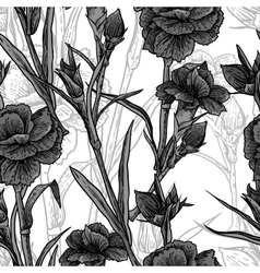Seamless vintage black and white floral background vector