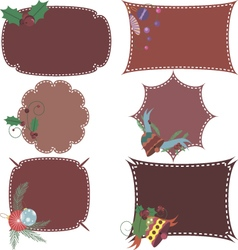 Set of christmas frames with decorative elements vector