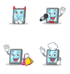 Set of tablet character with devil karaoke vector