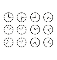 set of times clocks icons vector image