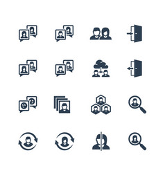 Social profile related icon set in glyph style vector