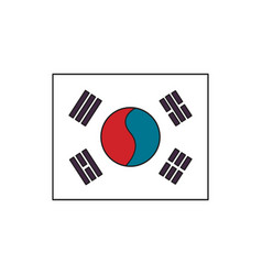 South korea flag icon cartoon style vector