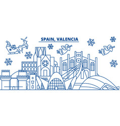 Spain valencia winter city skyline merry vector