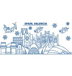Spain valencia winter city skyline merry vector
