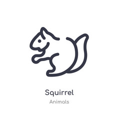 Squirrel outline icon isolated line from animals vector