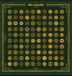 Steampunk gears set victorian era vintage design vector